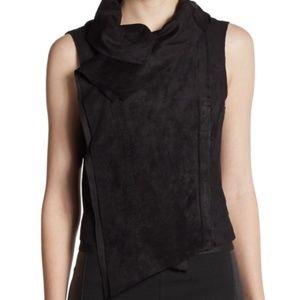 BCBG MAXAZRIA FABIAN Faux Suede Black Zip Vest M